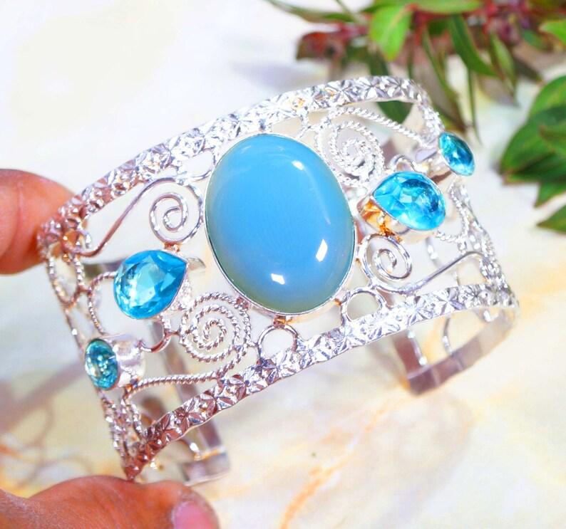 Handmade Bangle Blue Onyx Quartz Cuff Bangle 7.5 Inches Birthday Gifts 925 Silver Plated Jewelry