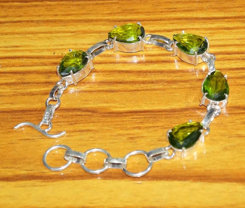 7.5 Inches 925 Silver Plated Jewellery Handmade Jewellery Wedding Gifts Green Quartz Bracelets