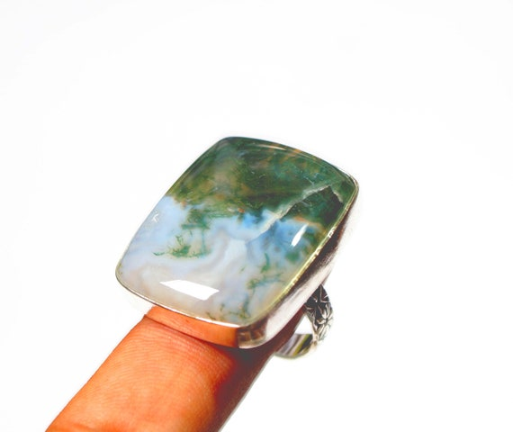 Green Moss Agate Gemstone Ring, Handmade Silver Plated Ring, Valentines Gifts Jewelry, Size US 9.5
