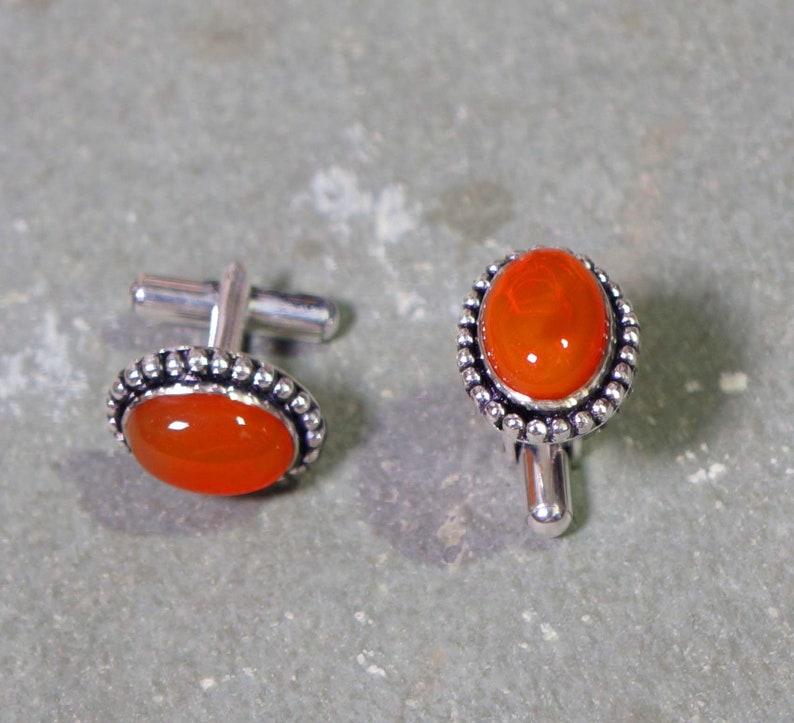Designer Cufflink Men gift jewelry 925 Silver Overlay Jewelry Red Onyx Cufflink 1814 mm