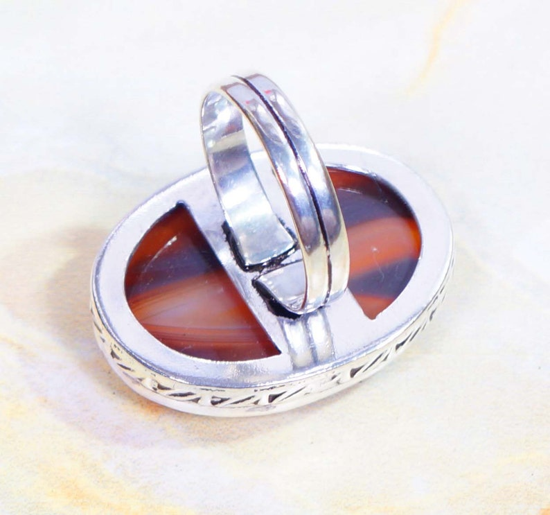 Brown Agate Ring Size US 9.12 Gemstone Jewellery Handmade Rings 925 Silver Plated Jewelry