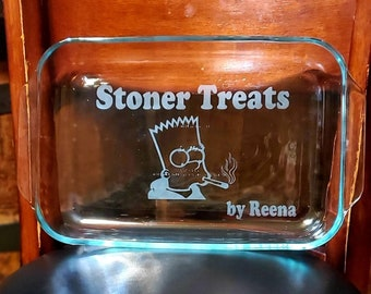 Etched Casserole Dish P13 This Taste Funny Gift Lid Included You/'ve Just Been Poisoned with Skull and Crossbones Casserole Dish Pyrex