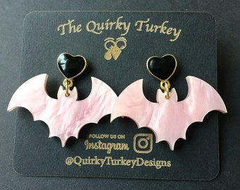 Pink Pearlescent Bat Earrings  pastel goth earrings   Spooky Earrings   Bat Dangle earrings