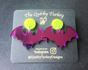 Spooky mirror bat earrings