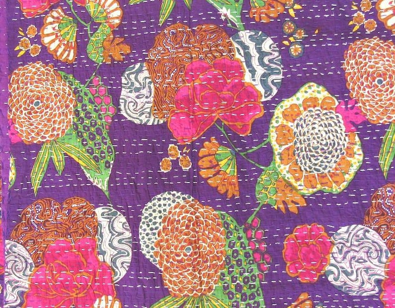 New tarquise fruit pattern kantha blanket Queen size bedspread multi colour 108x90 kantha throw