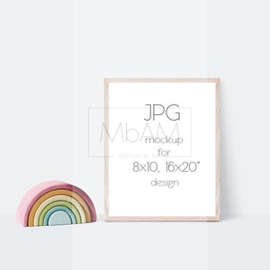 Baby mock up for 4x5 ratio art prints JPG mockup Simple nursery mockup with baby bed and 8x10 inch frame