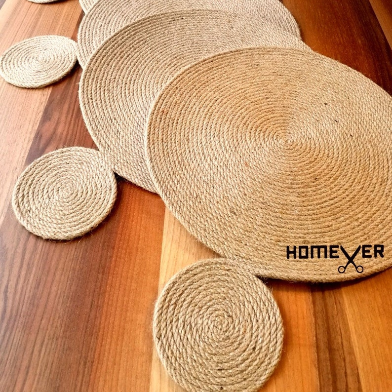 Modern Rustic Home Decor Farmhouse Tablemats Set Rustic Table Settings Boho Style Rustic Rope Placemats Set A Set of TWO