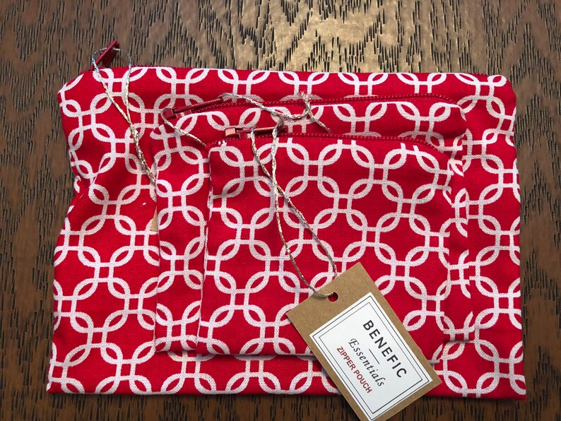 3-Piece RED MOSAIC Zippered Pouch Set Holds Earbuds, Travel Items, Makeup, Change, Phone Chargers and more