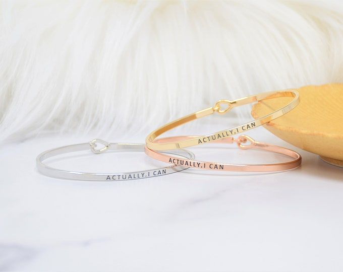 Actually I Can - Bracelet Bangle with Message for Women Girl Daughter Wife Holiday Anniversary Special Gift