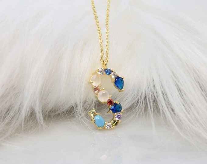 """Birthstone Initial Necklace """"S"""" - Perfect gift for Mother's Day,Valentine's Day,Christmas,Hanukkah,Birthdays,Wife,Daughter"""