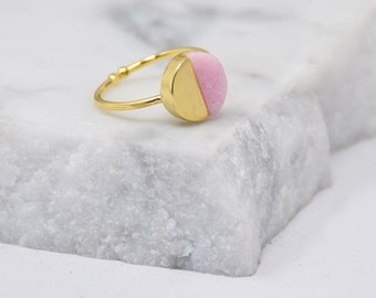 Natural Round Stone Ring -(PINK) Women Girl Daughter Wife Holiday Anniversary Special Gift