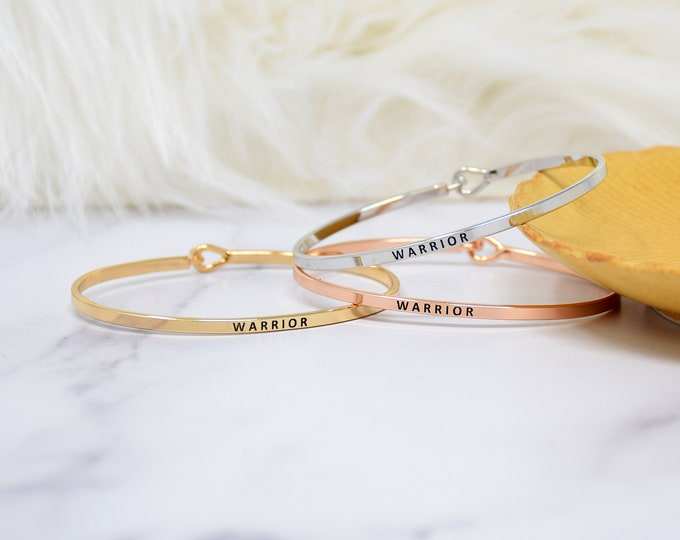 WARRIOR - Bracelet Bangle with Message for Women Girl Daughter Wife Holiday Anniversary Special Gift