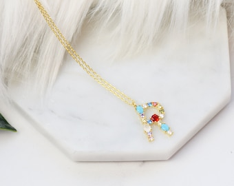 """Birthstone Initial Necklace """"R"""" - Perfect gift for Mother's Day,Valentine's Day,Christmas,Hanukkah,Birthdays,Wife,Daughter"""