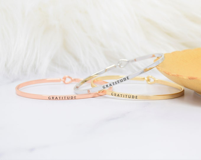 Gratitude- Bracelet Bangle with Message for Women Girl Daughter Wife Holiday Anniversary Special Gift