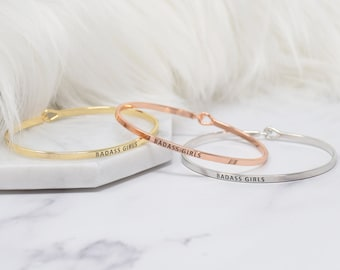 BADASS GIRLS - Bracelet Bangle with Message for Women Girl Daughter Wife Holiday Anniversary Special Gift