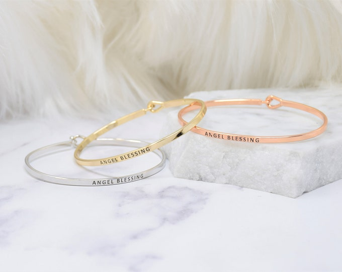 ANGEL BLESSING - Bracelet Bangle with Message for Women Girl Daughter Wife Holiday Anniversary Special Gift
