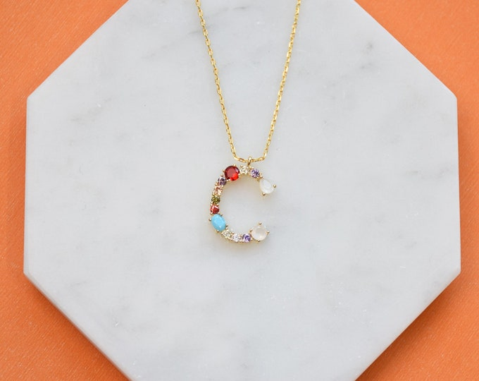 "Birthstone Initial Necklace ""C"" - Perfect gift for Mother's Day,Valentine's Day,Christmas,Hanukkah,Birthdays,Wife,Daughter"