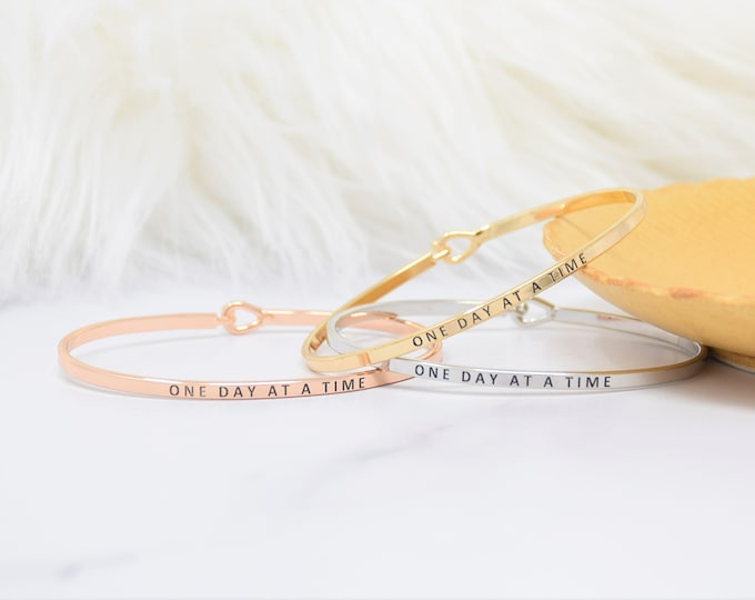 One Day at a time - Bracelet Bangle with Message for Women Girl Daughter Wife Holiday Anniversary Special Gift