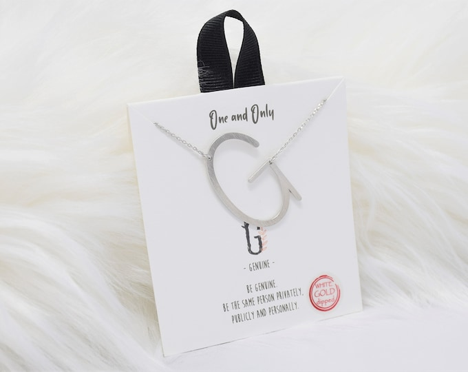 Sideways Initial G One and Only Necklaces Mono - Perfect gift for Mother's Day,Valentine's Day,Christmas,Hanukkah,Birthdays,Wife,Daughter