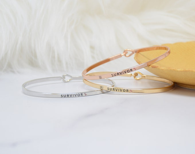 Survivor &  - Bracelet Bangle with Message for Women Girl Daughter Wife Holiday Anniversary Special Gift