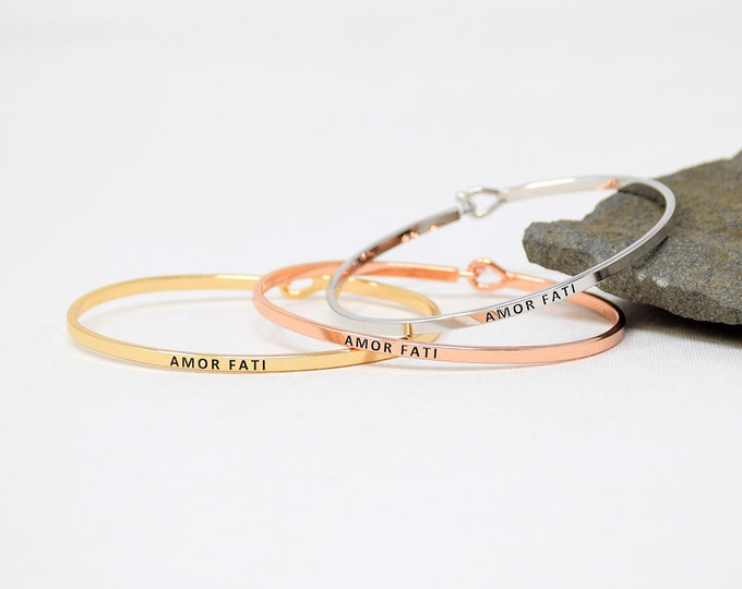 Amor Fati - Bracelet Bangle with Message for Women Girl Daughter Wife Holiday Anniversary Special Gift