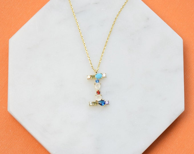 "Birthstone Initial Necklace ""I"" - Perfect gift for Mother's Day,Valentine's Day,Christmas,Hanukkah,Birthdays,Wife,Daughter"