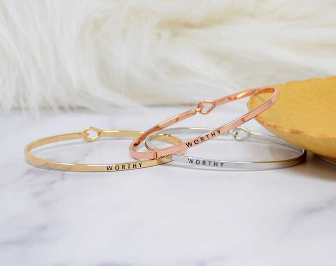 Worthy - Bracelet Bangle with Message for Women Girl Daughter Wife Holiday Anniversary Special Gift