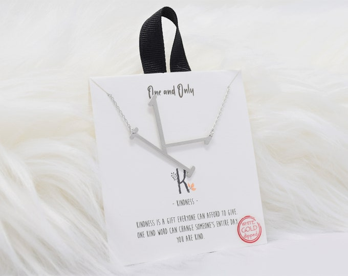 Sideways Initial K One and Only Necklaces Mono - Perfect gift for Mother's Day,Valentine's Day,Christmas,Hanukkah,Birthdays,Wife,Daughter