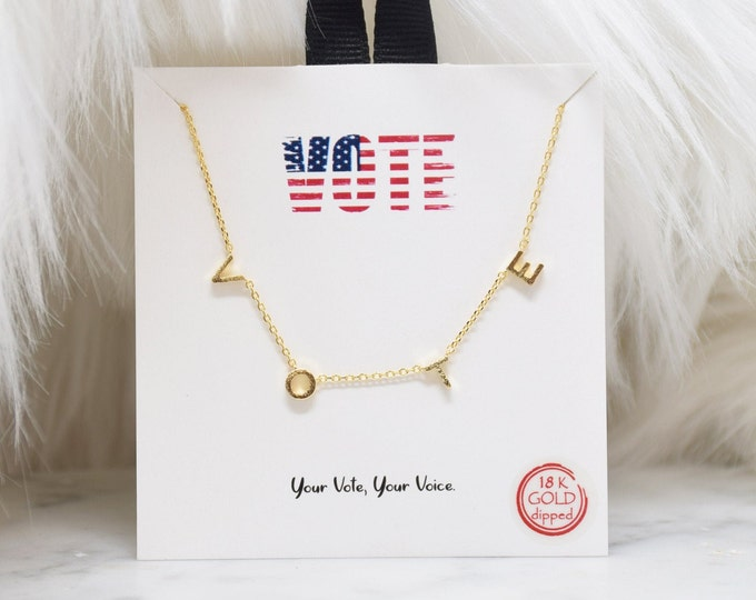 Michelle Obama's Gold Vote Necklace - Perfect gift for Mother's Day,Valentine's Day,Christmas, Election Day ,Birthdays,Wife,Daughter