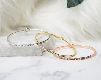 She Flies with Her Own Wings  - Bracelet Bangle with Message for Women Girl Daughter Wife Holiday Anniversary Special Gift