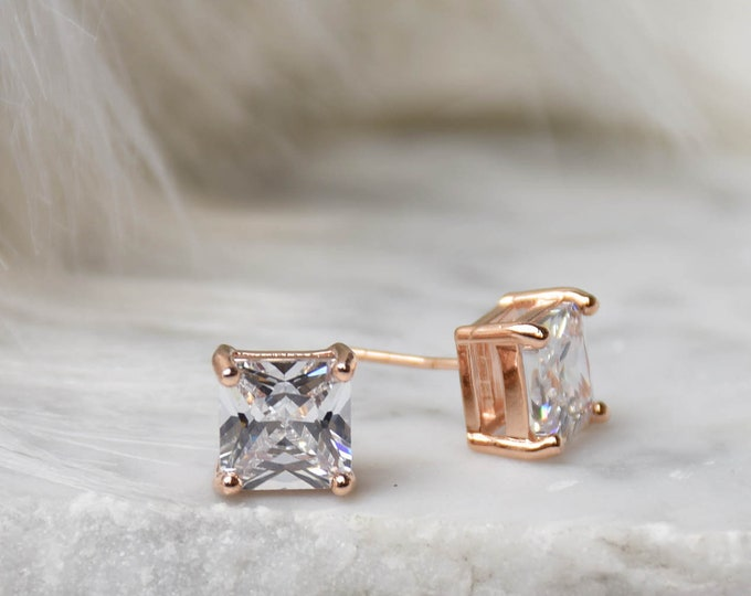 Brilliant Cut Earring - 5mm Handcrafted Diamond Princess Cut