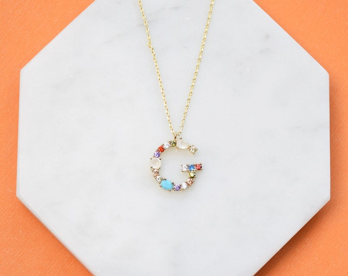 "Birthstone Initial Necklace ""G"" - Perfect gift for Mother's Day,Valentine's Day,Christmas,Hanukkah,Birthdays,Wife,Daughter"