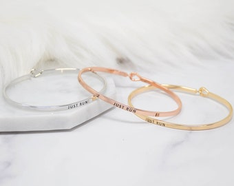 JUST RUN - Bracelet Bangle with Message for Women Girl Daughter Wife Holiday Anniversary Special Gift