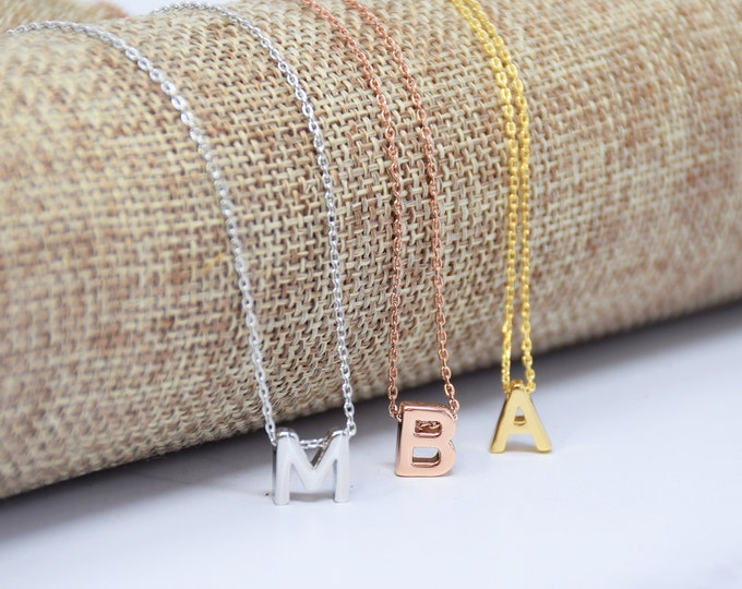 Petite Letter Necklace / Small Monogram Necklace / Silver Letter Necklace / Personalized Necklace /Statement Layering Necklace