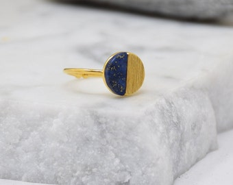 Natural Round Stone Ring -Navy (Lapis) Women Girl Daughter Wife Holiday Anniversary Special Gift