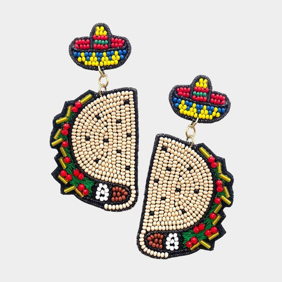 Curated Beaded Fiesta Earrings Collection / Seed Beads / Statement Jewelry / Summer Vacation / Taco Earrings / Gifts for Her