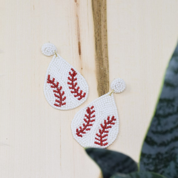 Curated Beaded Baseball Earrings White / Round Post / Seed Beads / Statement Jewelry / Summer Vacation / Donut Face Earrings / Gifts for Her