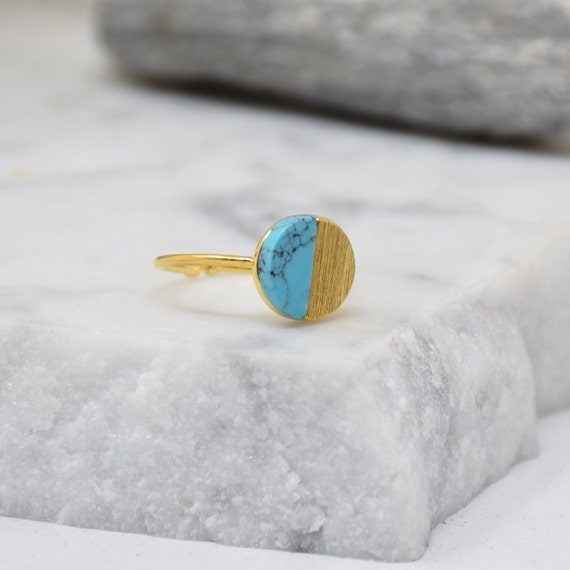 Natural Round Stone Ring -(Turquoise) Women Girl Daughter Wife Holiday Anniversary Special Gift