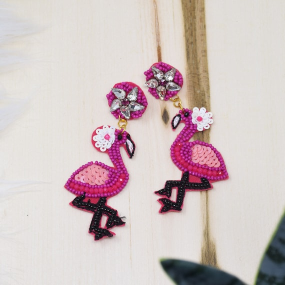 Beaded Flamingo Earrings Pink / Round Post / Seed Beads / Statement Jewelry / Summer Vacation / Bird Earrings / Gifts for Her