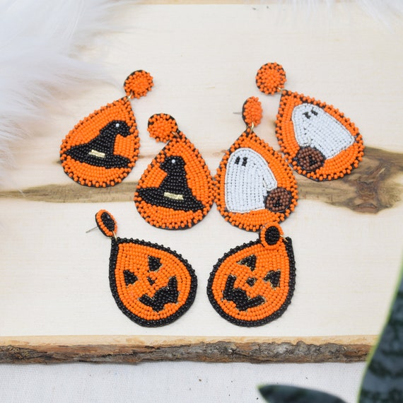 Curated Beaded Fiesta Earrings Collection / Seed Beads / Statement Jewelry / Halloween Theme