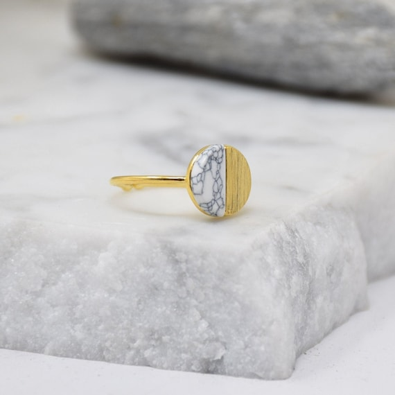 Natural Round Stone Ring -(Marble) Women Girl Daughter Wife Holiday Anniversary Special Gift