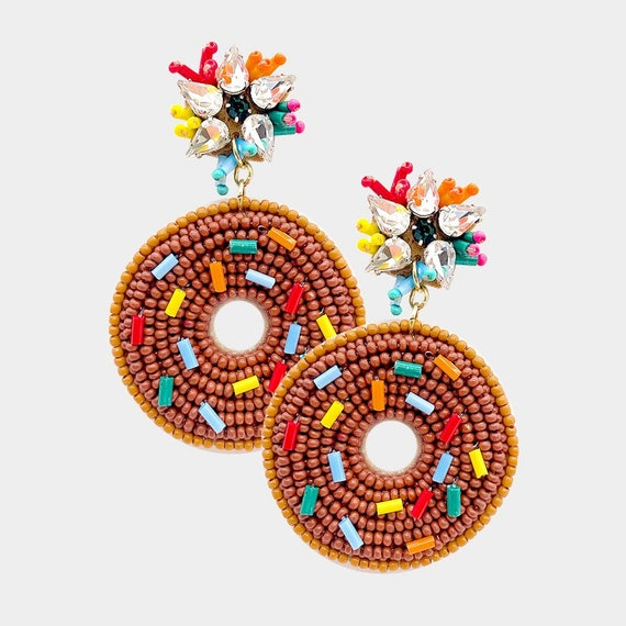 Curated Beaded Donuts Earrings Brown / Round Post / Seed Beads / Statement Jewelry / Summer Vacation / Donut Face Earrings / Gifts for Her