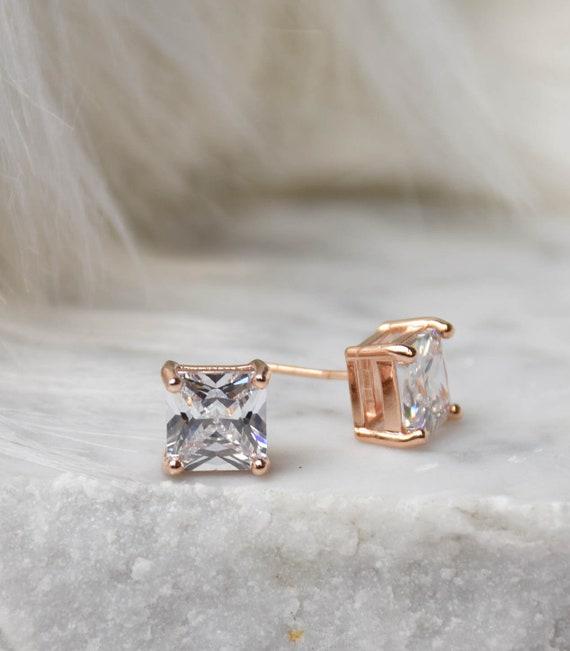 Brilliant Cut Earring - 5mm Handcrafted Diamond Princess Cut