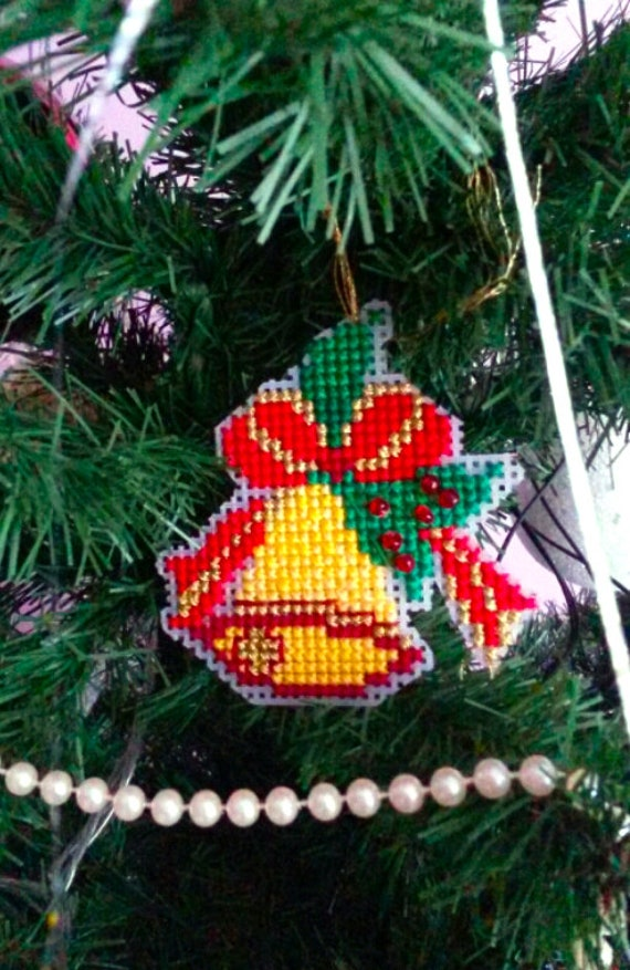 Plastic Canvas Christmas.Bell Christmas Ornament Cross Stitch Pattern Pdf Plastic Canvas Christmas Decoration Embroidery Chart Needlepoint