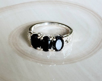 Thai Black Spinel Oval and Pear Cut 0.90 Ct Pendant without Chain in Sterling Silver Nickel Free TGW 1.40 cts.