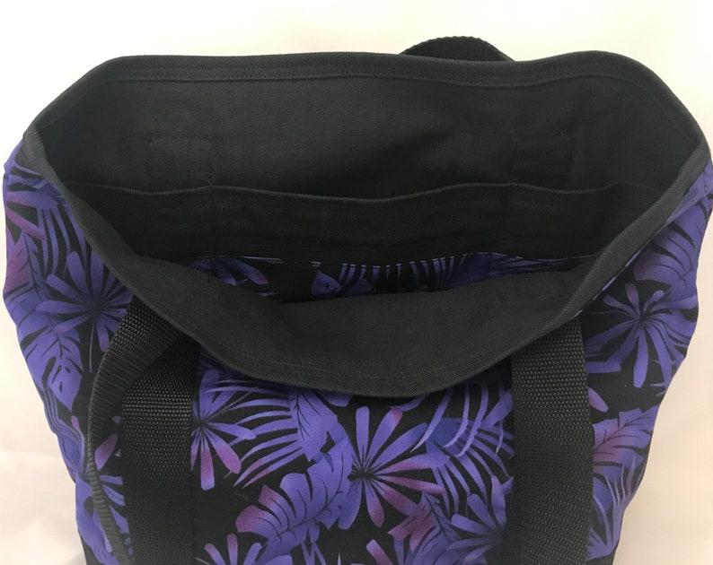 Book Bag Tote Bag Shopping Bag Purple Black Tropical Large Handbag Water and Stain Resistant Bottom Over Shoulder Bag