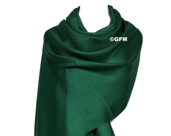 c30a650af GFM Pashmina Style Wrap Scarf - All Seasons - Twill Weave Soft - B9-Green