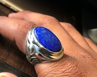 Lapis Lazuli Ring  925 Sterling Silver Ring  Mens Wide Band Signet Ring Gemstone Oval Ring  Birthday Gift Ring for Men  Big Oval Lapis Ring