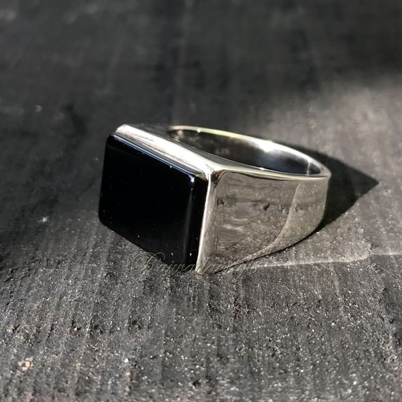 Handmade Jewelry Ring Black Onyx Silver Ring Valentine/'s Gift Men/'s Ring Size 6 Natural Black Onyx Ring