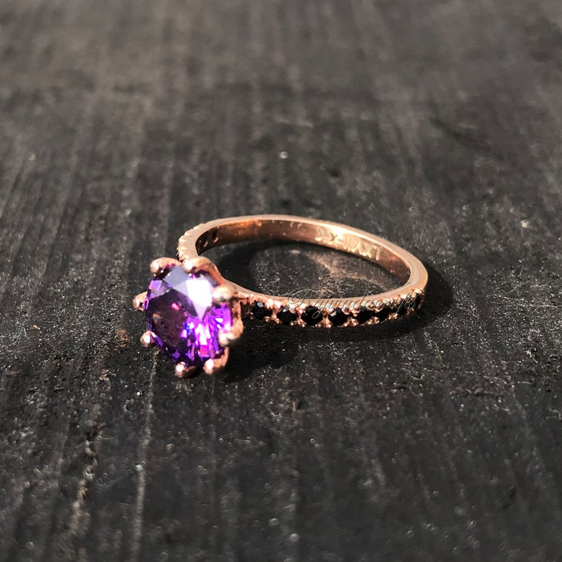 Wedding Ring Anniversary Gift Ring Stacking Ring Amethyst Quartz Ring 925 Silver Ring Engagement Ring Gift For Her Women Dainty Ring